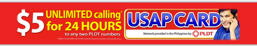 PLDT Usap Card Unlimited calling to the Philippines 24 hours