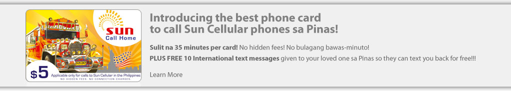 Best phone card to call Sun Cellular phones sa Pinas